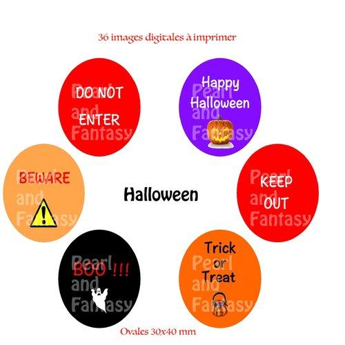 "Images digitales ovales ""halloween"" 30x40 mm"