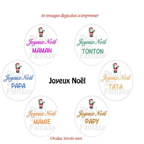 "Images digitales ovales ""joyeux noël"" 30x40 mm"