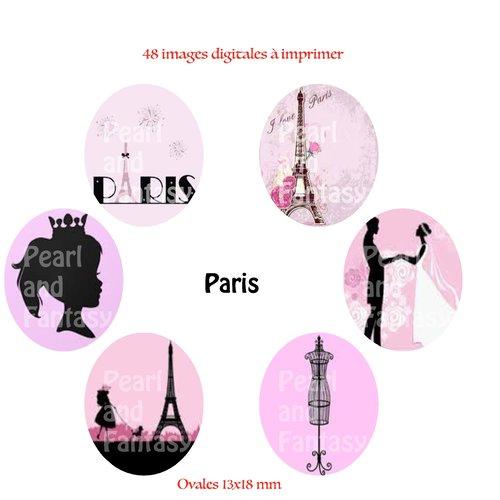 """Images digitales ovales """"paris"""" 13x18 mm"""