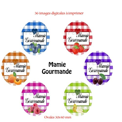 """Images digitales ovales """"mamie gourmande"""" 30x40 mm"""