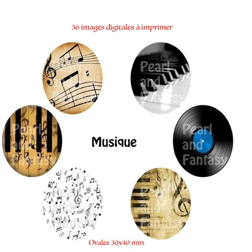 "Images digitales ovales ""musique"" 30x40 mm"