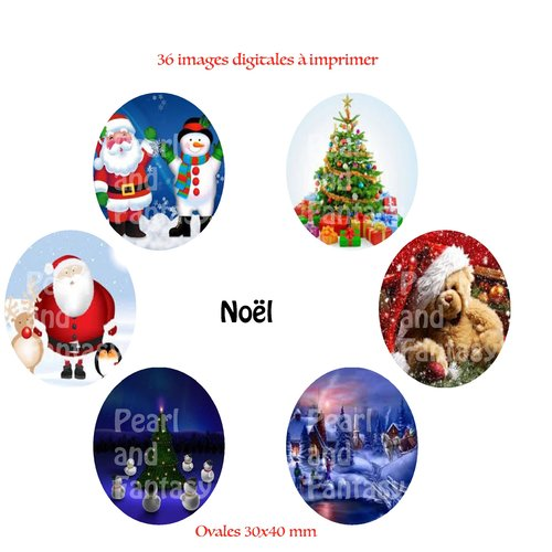 "Images digitales ovales ""noël"" 30x40 mm"
