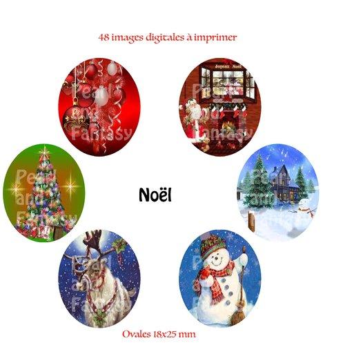 "Images digitales ovales ""noël"" 18x25 mm"