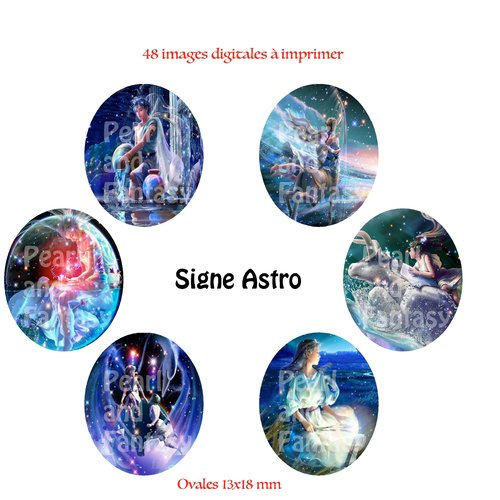"""Images digitales ovales """"signe astro"""" 13x18 mm"""
