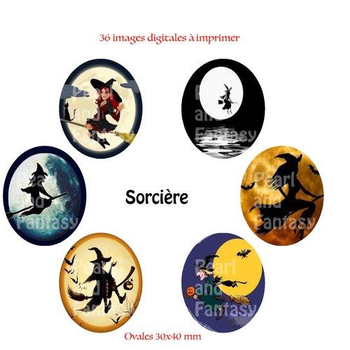 "Images digitales ovales ""sorcière"" 30x40 mm"