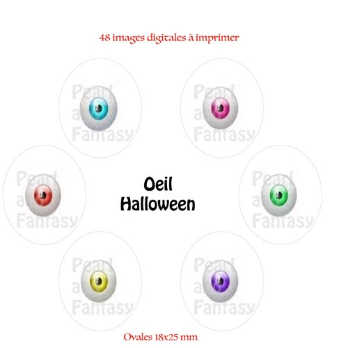 "Images digitales ovales ""oeil halloween"" 18x25 mm"