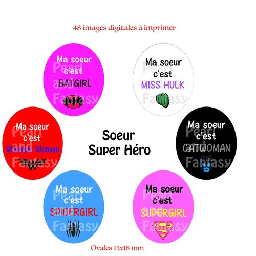 "Images digitales ovales ""soeur super héro"" 13x18 mm"