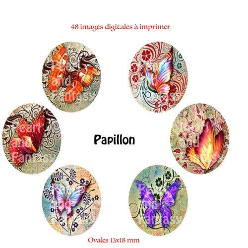 "Images digitales ovales ""papillon"" 13x18 mm"