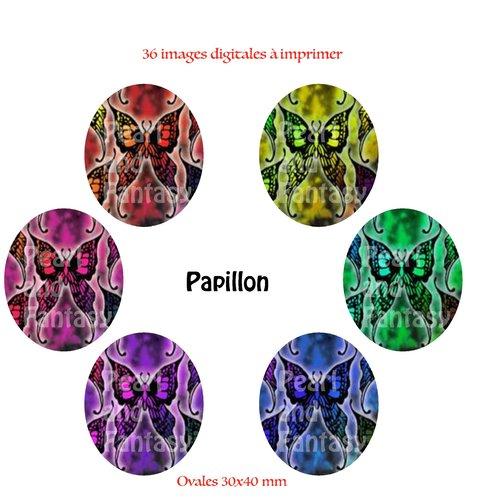 "Images digitales ovales ""papillon"" 30x40 mm"