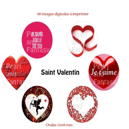 "Images digitales ovales ""saint valentin"" 13x18 mm"