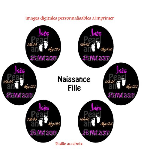 """Images digitales ovales personnalisables """"naissance fille"""""""