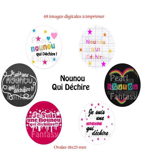 """Images digitales ovales """"nounou qui déchire"""" 18x25 mm"""