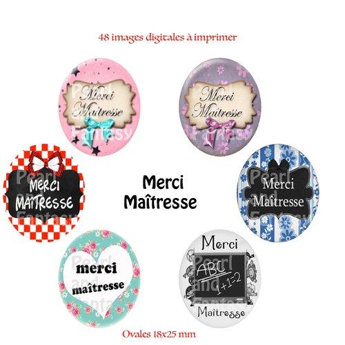 "Images digitales ovales ""merci maîtresse"" 18x25 mm"
