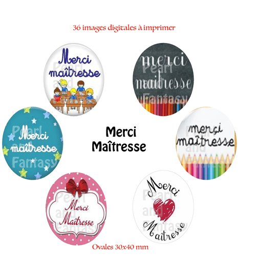 "Images digitales ovales ""merci maîtresse"" 30x40 mm"