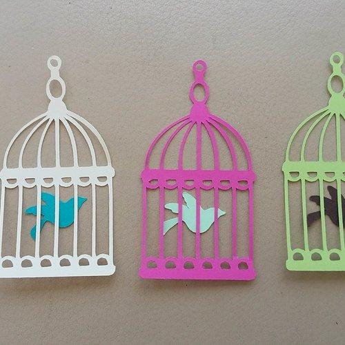 Lot die cuts/découpes pour scrapbooking thème cages et oiseaux