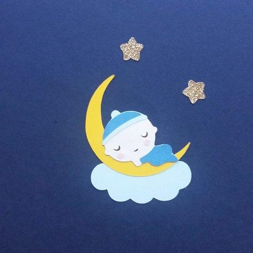 Die cut / découpe papier bébé garçon sur la lune pour scrapbooking album photo faire part de naissance décoration table baptême