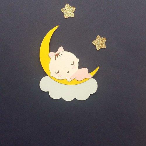 Die cuts / découpes bébé fille sur la lune pour scrapbooking album photo faire part de naissance décoration table baptême