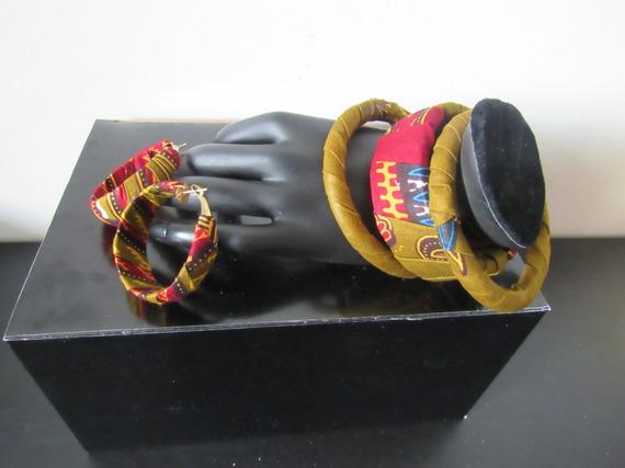 Parure ethnique bijoux en wax Bracelet + boucles d oreilles