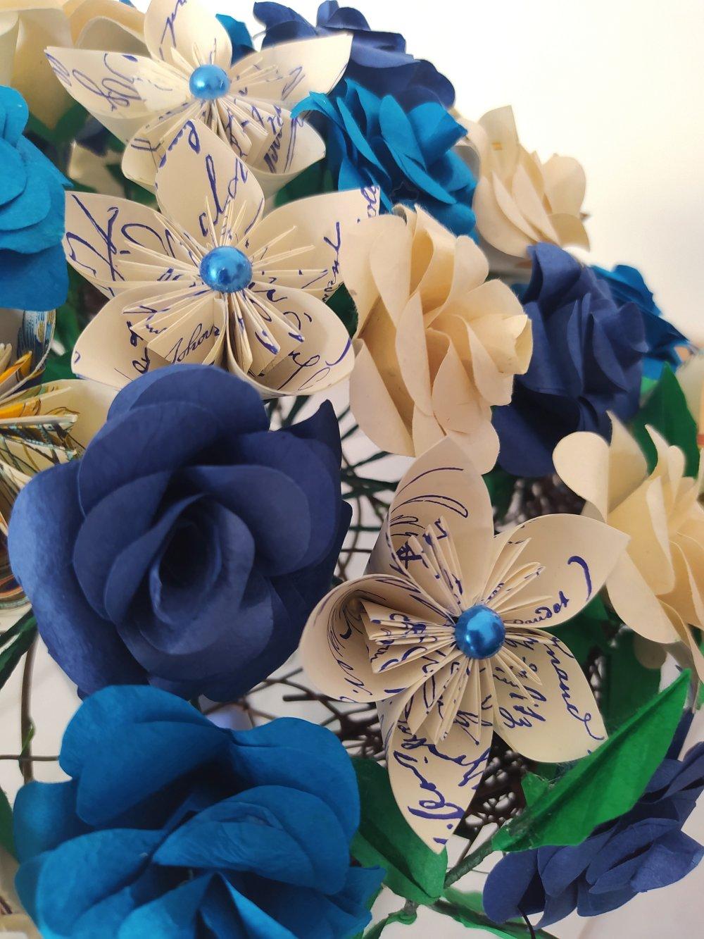 Bouquet de mariée en origami Rêve bleu / roses en papier népalais / fleurs en origami modulaire
