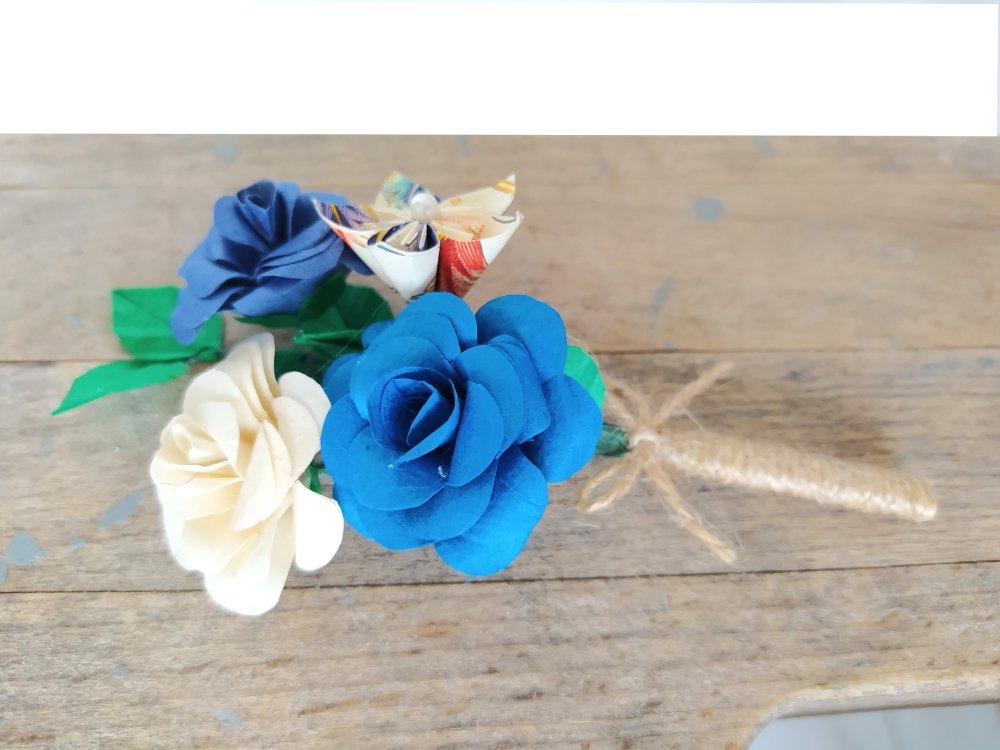 Boutonnière de mariage en origami Roses nature / bouquet pour costume de marié / boutonnière garçon d'honneur