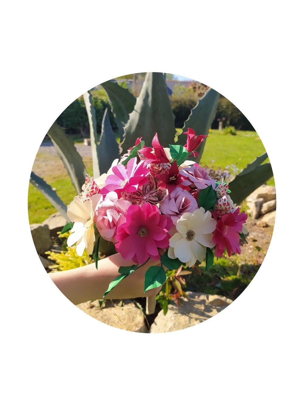 Bouquet de mariée en origami Marguerites liberty / fleurs demoiselle d'honneur / composition florale mariage