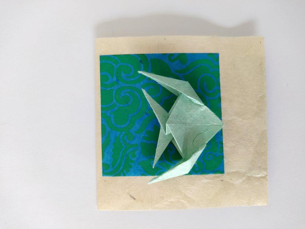 Lot de 10 faire-parts de naissance en origami Patchwork poisson / invitation Baptême / carte anniversaire / papier Lokta