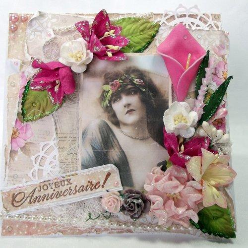 Carte Fleurie De Style Ancienne Pour Anniversaire Femme Tons Blanc Beige Rose Et Fushia Fait Main Un Grand Marche