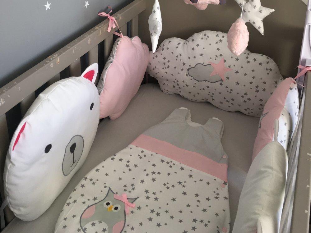 Tour de lit bébé fille en forme de nounours et nuages nuages gris , rose et  blanc avec étoiles