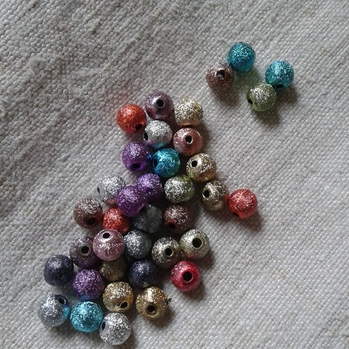 Lot de 20 perles stardust, multicolores, 6 mm, en acrylique