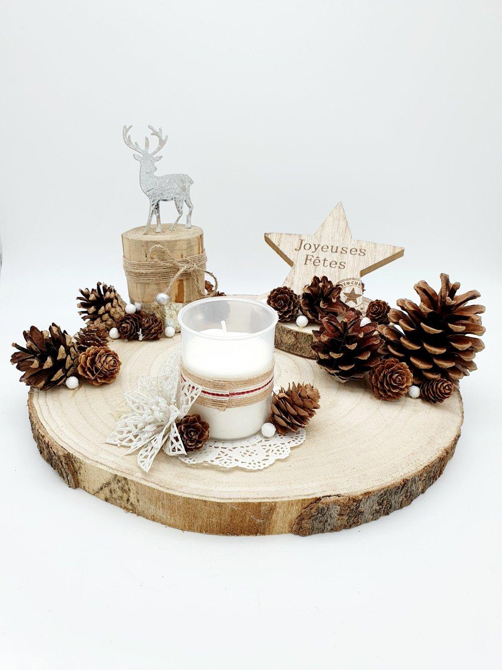 Deco De Table Bougie centre de table en bois - noel / jour de l'an / fêtes - avec bougie - cerf