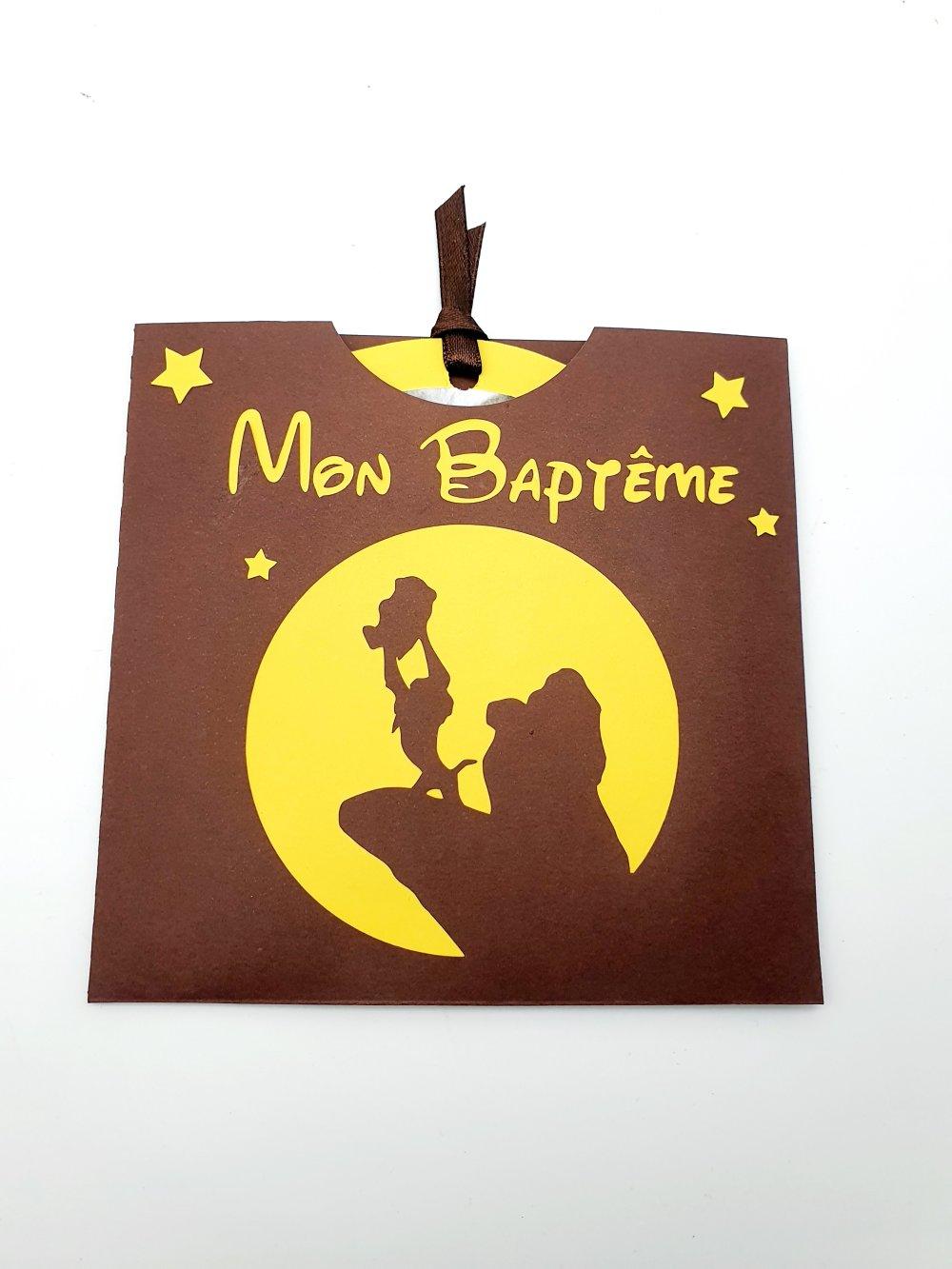 Lot de 10 faire-part de Baptême - Thème : Roi Lion - Personnalisable (couleur, texte...)