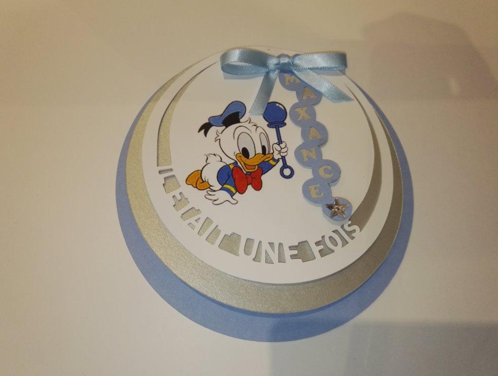 Lot de 10 faire-part de naissance - Thème : Donald - Personnalisable (couleur, texte...)