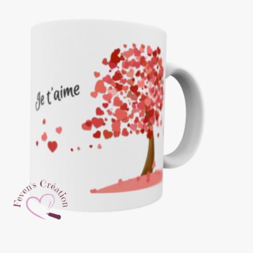 """Mug blanc - mug amour """"chaque battement de mon coeur est un je t'aime que je t'envoie"""" arbre coeur - personnalisable"""