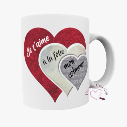 """Mug blanc - mug amour """"chaque battement de mon coeur est un je t'aime que je t'envoie - personnalisable"""