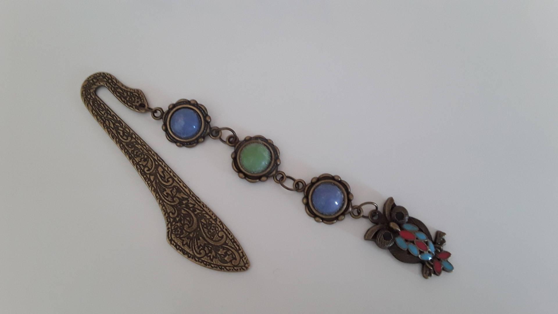 Marque page bronze cabochon hibou