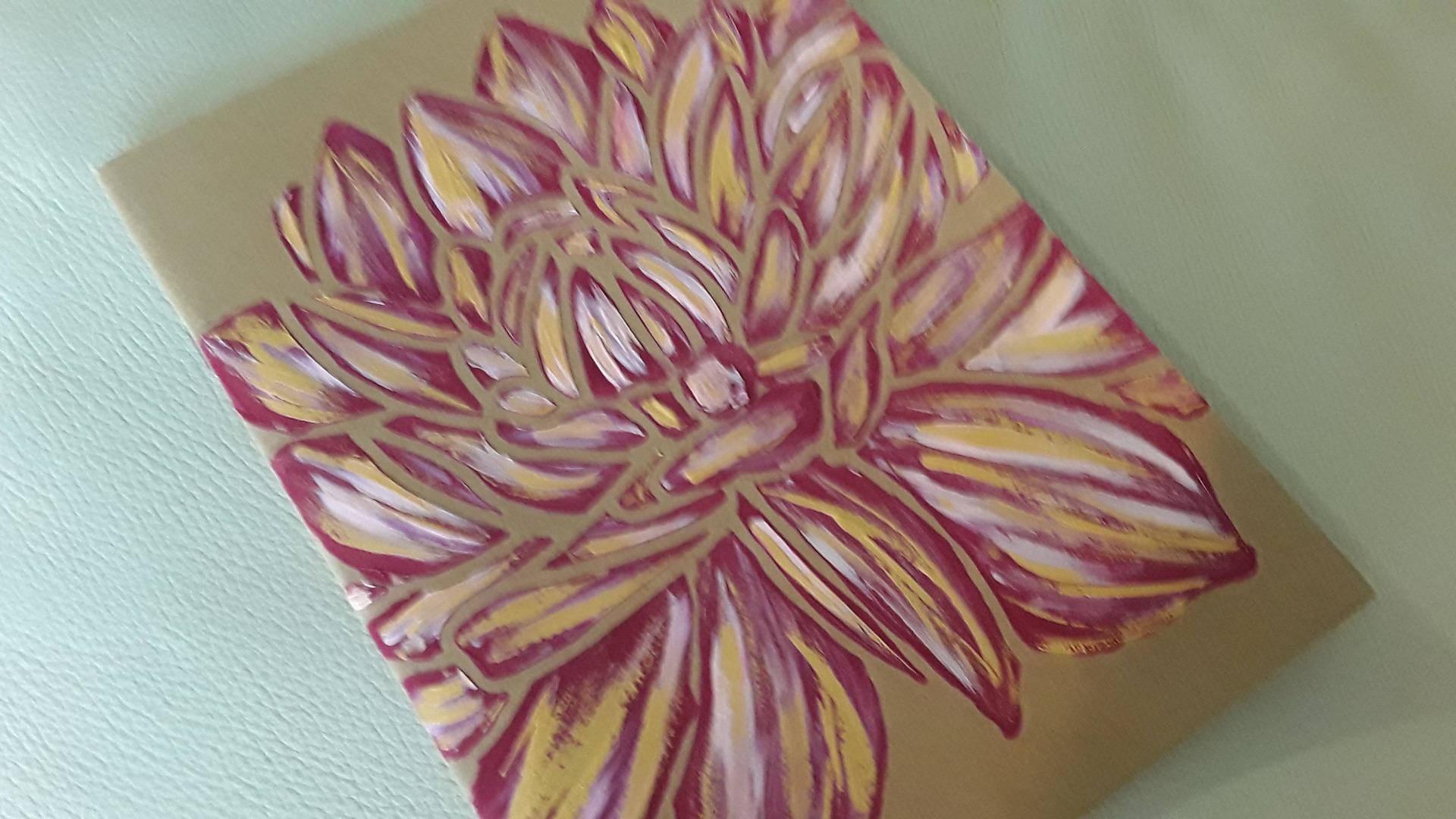 Carnet kraft papier ivoire peint à la main fleur de lotus