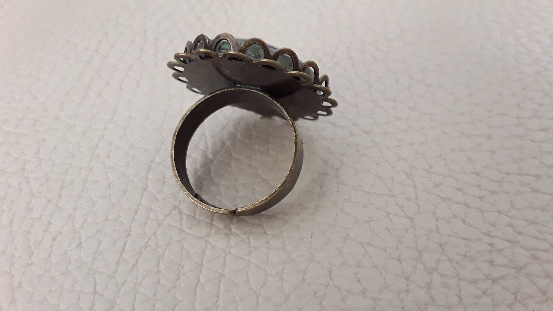Bague style vintage metal couelur bronze fleuris