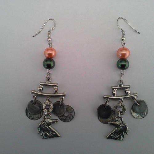 Boucles d oreille perle et cheval