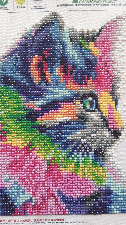 Tableau Chat Multicolore Mosaïque