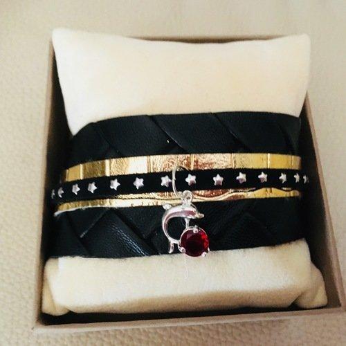 Bracelet manchette or et noir