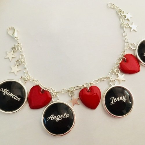 collier pendentif coeur de verre personnalisé prénom écriture rouge