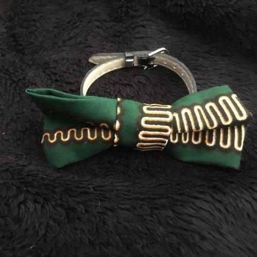 Bracelet noeud tissus wax simili cuir
