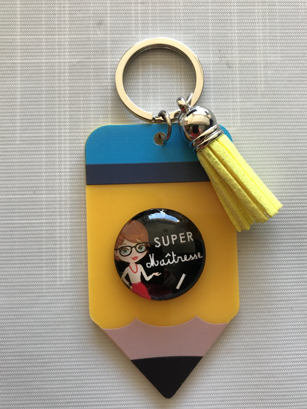 Porte clés crayon maîtresse