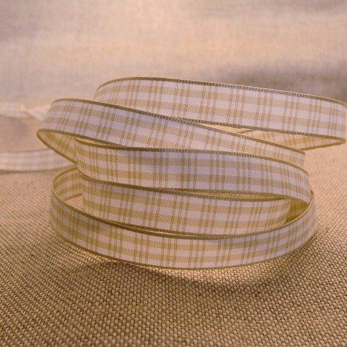 Ruban à carreaux beige et blanc largeur 10 mm