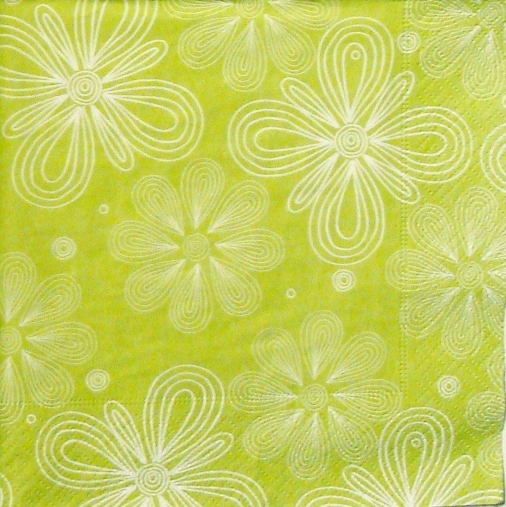 Serviette en papier HOD082 Fleurs blanches fond vert