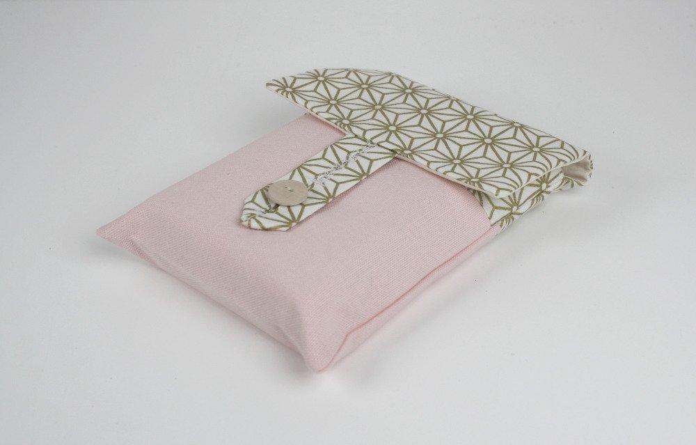 Pochette pour livre esprit scandinave en toile de coton  ton nude et coton blanc motfs dorés