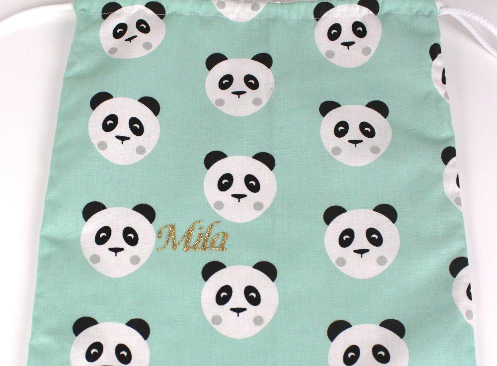 """Sac à doudou, sac à linge, """"petits pandas"""" en coton vert menthe, personnalisable"""