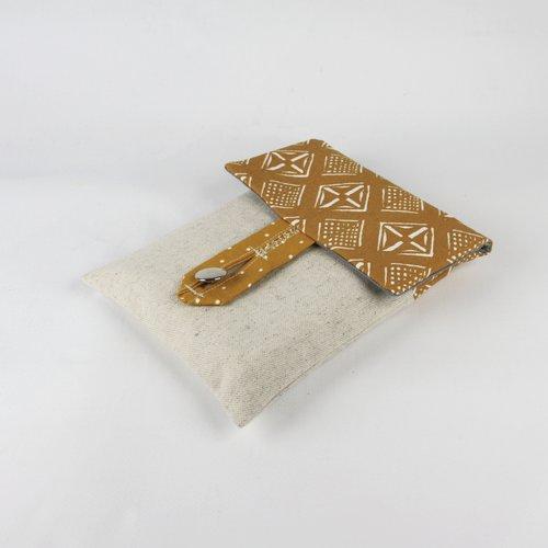 Pochette pour livre en toile de coton moutarde motifs géométriques