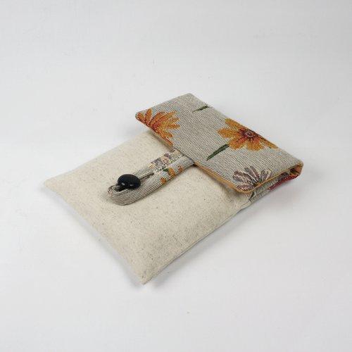 Pochette pour livre en toile d'ameublement fleuri et toile de coton