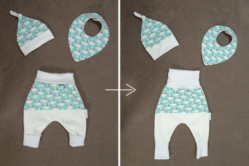 Sarouel, bonnet de naissance, bavoir bandana - Motif lapin
